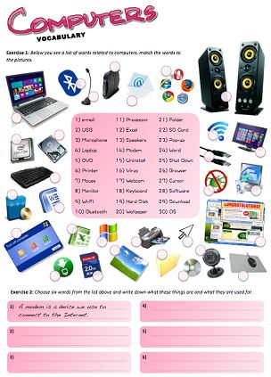 A worksheet with lots of fun activities and puzzles about computers!