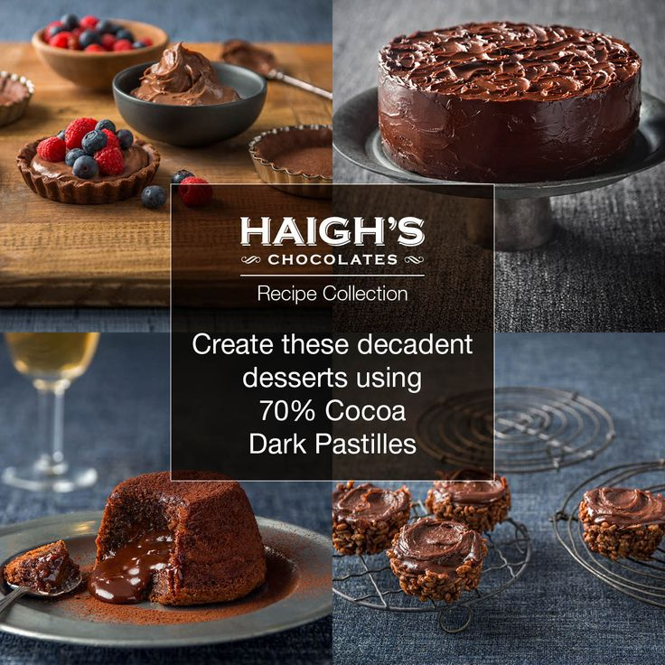Create these delicious winter warming desserts using Haigh's 70% Cocoa Pastilles. The intense chocolate flavour from the high cocoa content in the pastilles gives these desserts a rich chocolatey result.