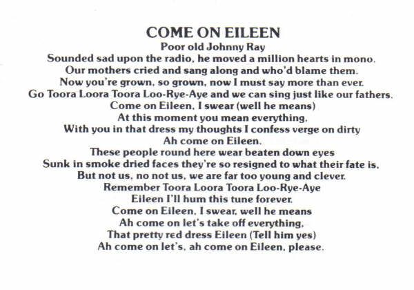 Des Chansons Comme Viennent Sur Eileen