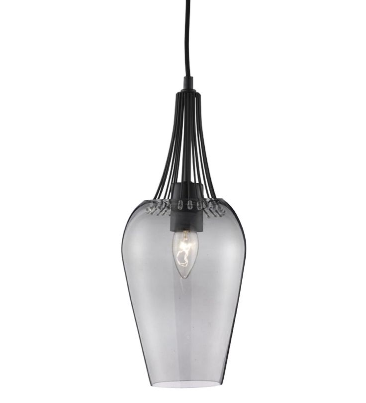 Searchlight Whisk Single Ceiling Pendant Light Black Smoked Glass 8911BK