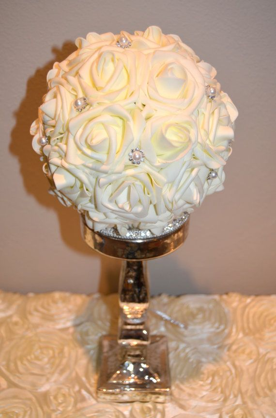 Ivory Flower Ball With Bling Pearl Brooch Real Touch Foam Rose Wedding Centerpiece Rose Ball