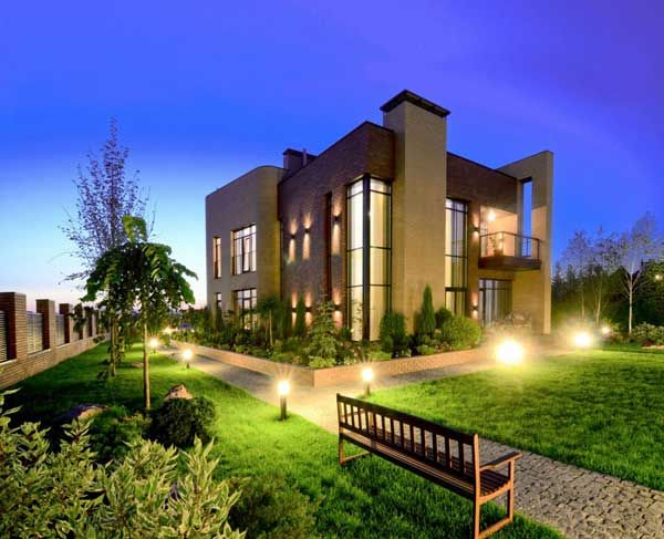Apartments, Best Apartements Lighting Seat Wall Lamp Lighting Courtyard Garden Park Grass Decor House Design Idea Modern Decorating Ideas Random Stone Floor Architectural Natural: Excellent, Kiev Residence Built With Locally Resourced Materials