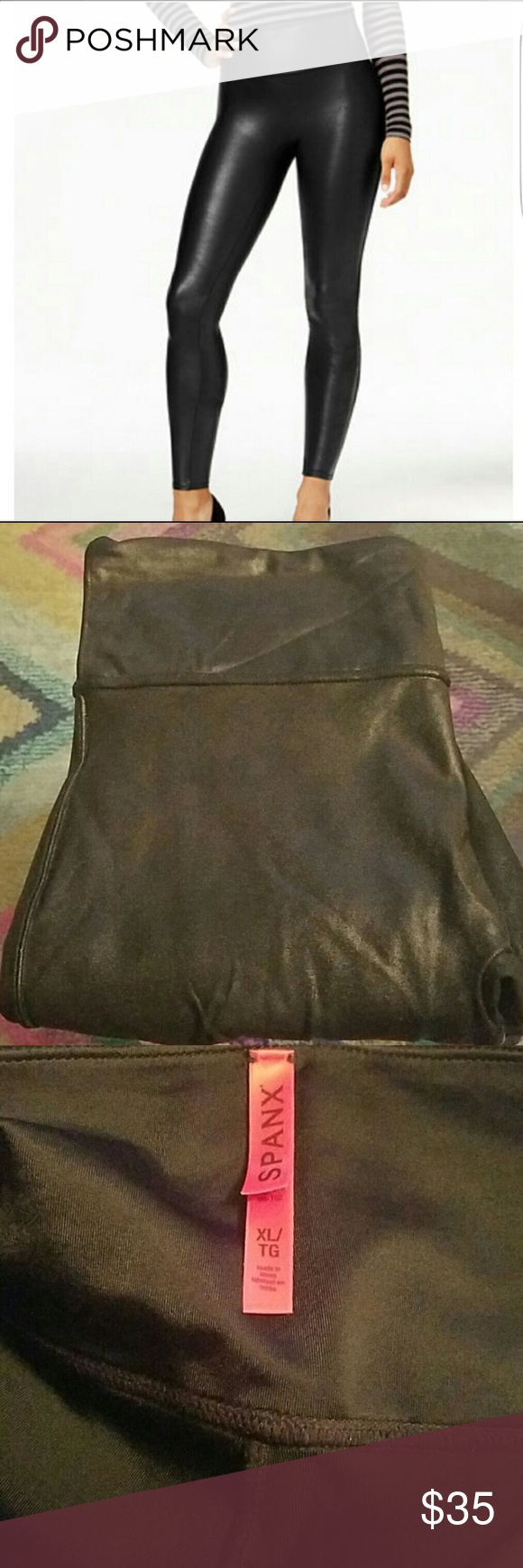 Spanx Faux Leather Leggings Super cute! Slimming effect. Gently worn, great condition! SPANX Pants Leggings