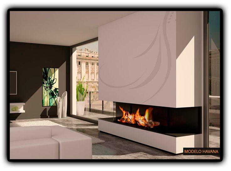 M s de 1000 ideas sobre chimenea de doble cara en - Chimeneas de lena modernas ...