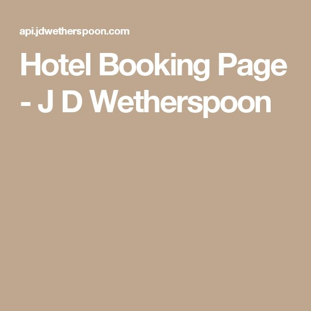 Hotel Booking Page - J D Wetherspoon