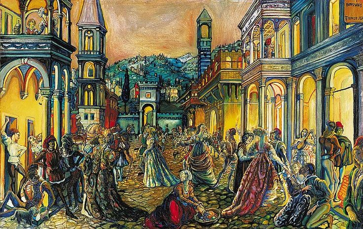 Batthyány Gyula 1888-1959 Night in Florence, 1927 64×100 cm Oil on wood Signed upper right: Batthyány Firenze 1927 Exhibited: - Mostra d'Arte Ungherese. Rome, Palazzo dell'Esposizione, May-June 1928. (4. Sera fiorentina) - Ungersk Konst. Stockholm, Liljevalchs Konsthall, 5-28. October 1928. (33. Fest)