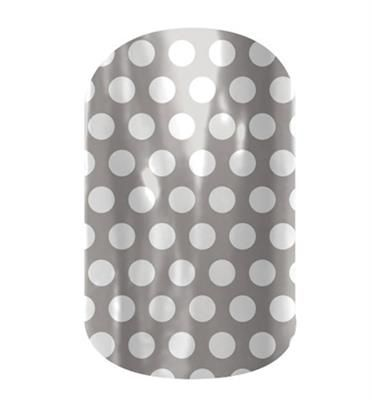 Grey & White Polka by Jamberry Nail Wraps. Filled with classic lines and fun polka dots, the Dotted Line collection is perfect to wear with our bolder wraps or wear on their own. Appropriate for any setting, these wraps are an essential part of any nail lover's collection. Lasts up to 2 weeks on fingernails and 4 weeks on toenails.