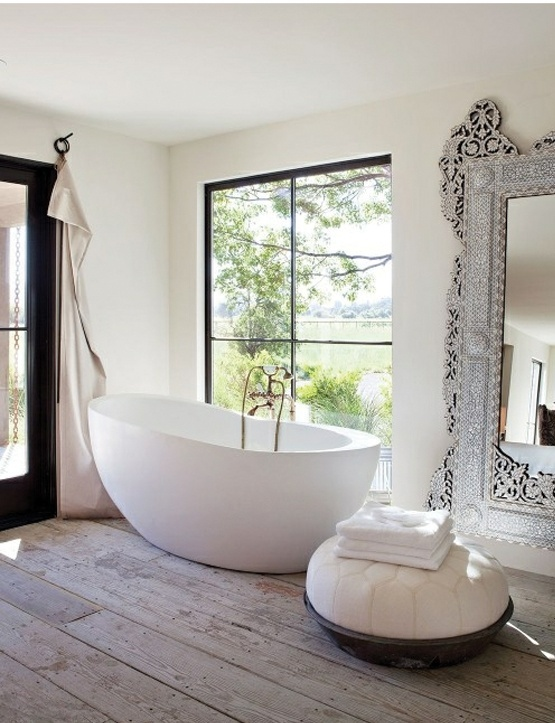 Gorgeous tub... bath bathroom light hard wood natural floors