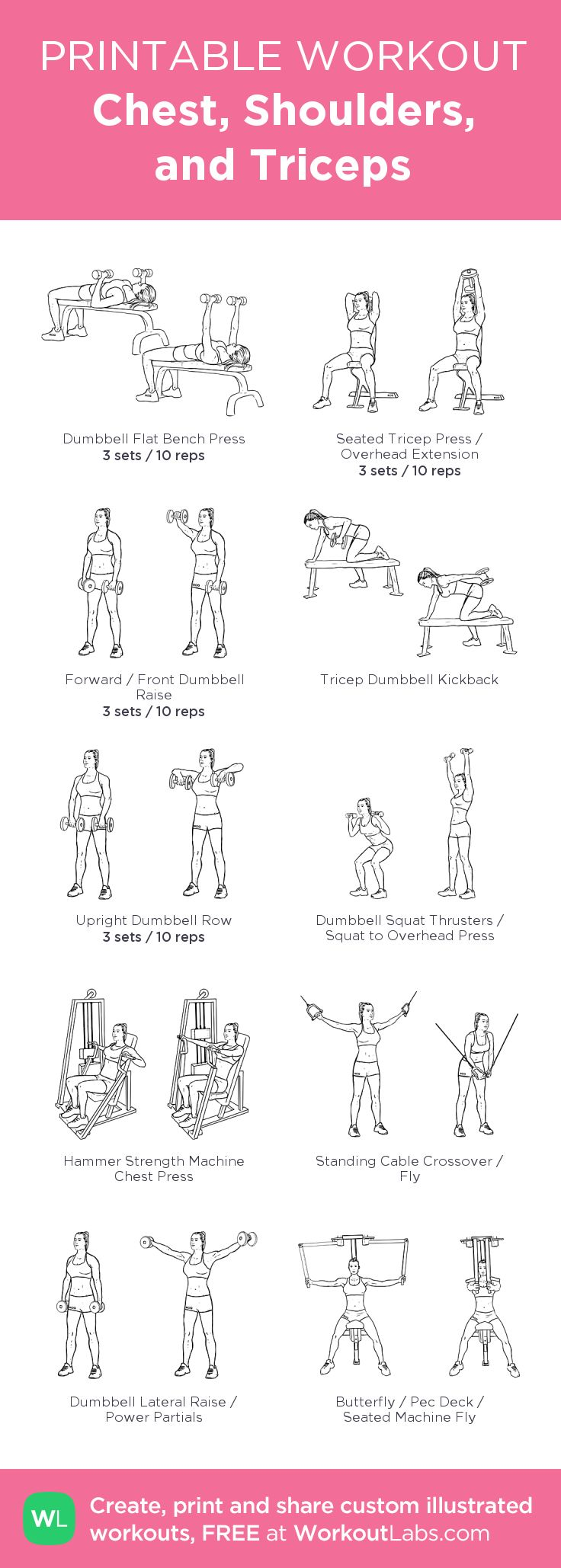 Chest, Shoulders, and Triceps: my visual workout created at WorkoutLabs.com • Click through to customize and download as a FREE PDF! #customworkout