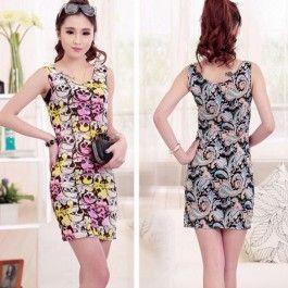 Women Fashion Slim Retro Round Neck Sleeveless Flower Print Stretch Short Tank Dress