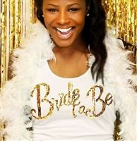 The Ultimate Engagement gift - Get this sequin gold Bride shirt! It is exclusively available at The House of Bachelorette!