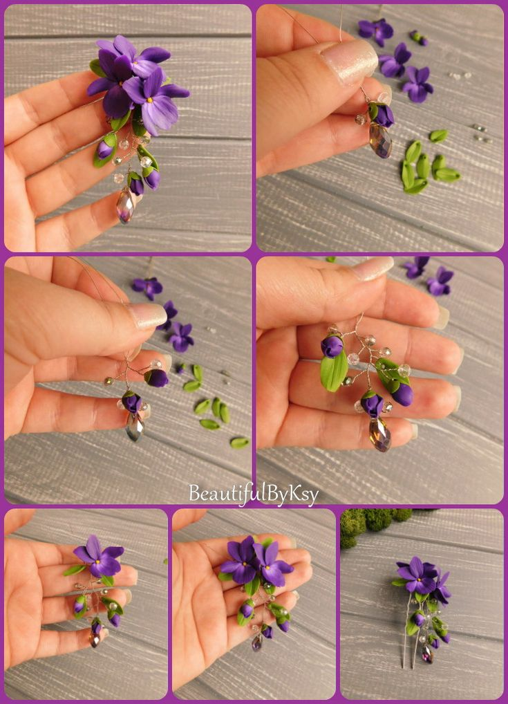 DIY violet hair pin with dangle. Polymer clay flowers. Made to order #flowers #p…