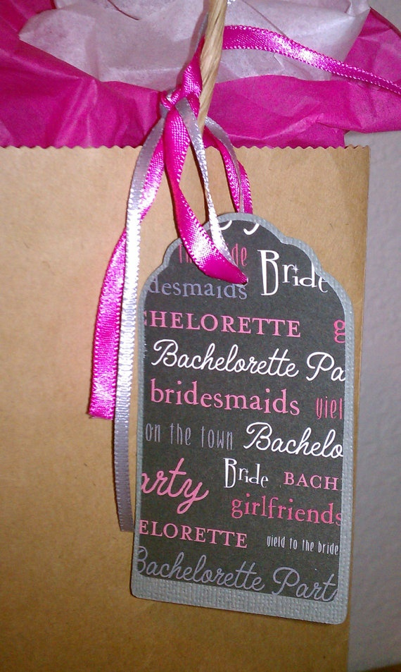 Brown bags, colored tissue paper and cute printed tags.