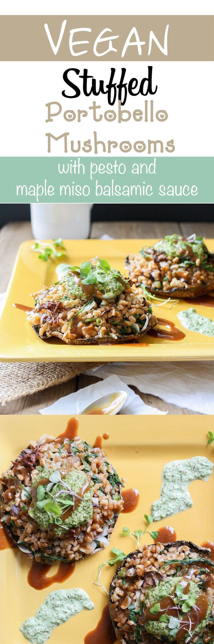 Italian Farro Stuffed Portobellos with Pesto and Balsamic Sauce