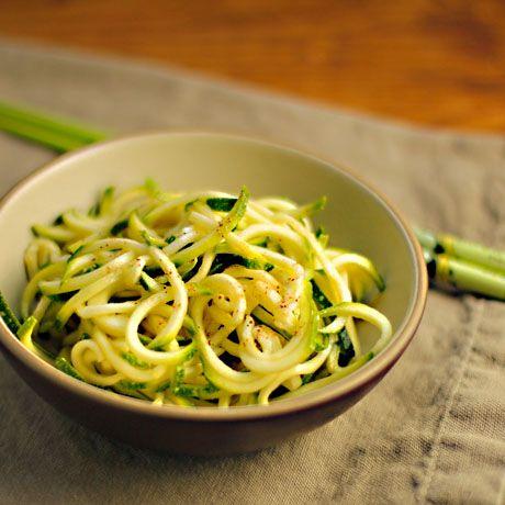Zucchini ribbon salad. Double or triple the szechuan peppercorns ...