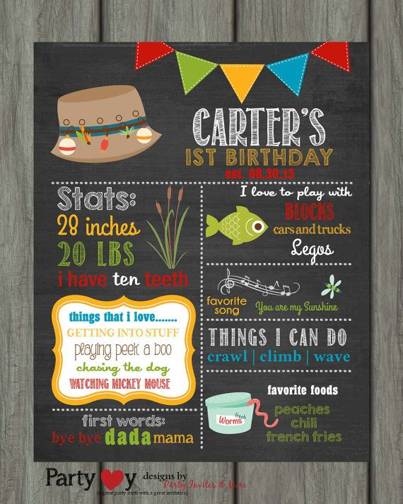 Fishing First Birthday Chalkboard Poster by PartyInvitesAndMore