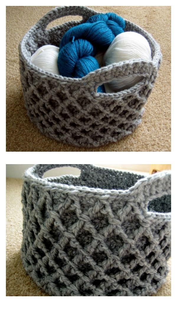 Waffle Stitch Diamond Trellis Basket Free Crochet Pattern