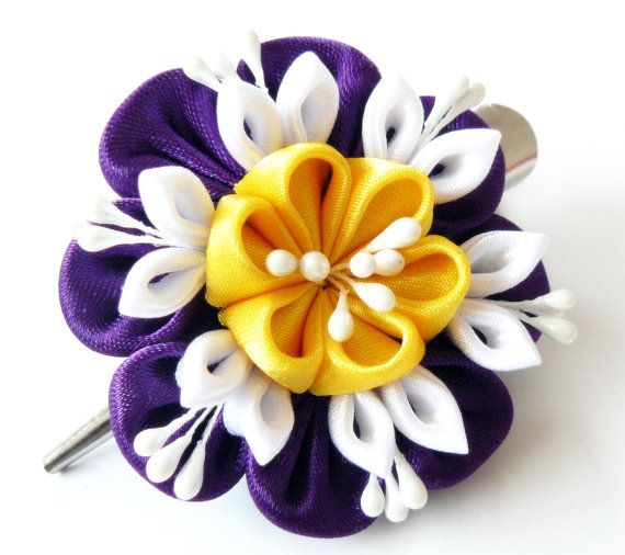 Kanzashi fabric flower hair clip Violet yellow and white by JuLVa, $10.00