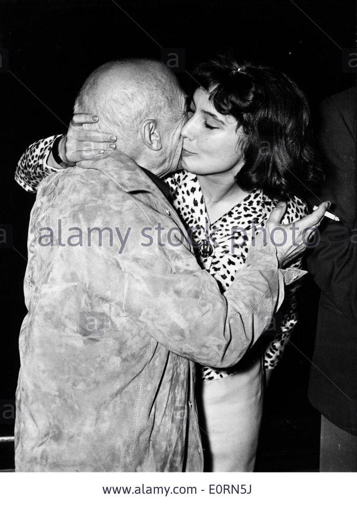 Pablo Picasso kissing Tatiana Samoilova at the Cannes Film Festival, 12th January 1960