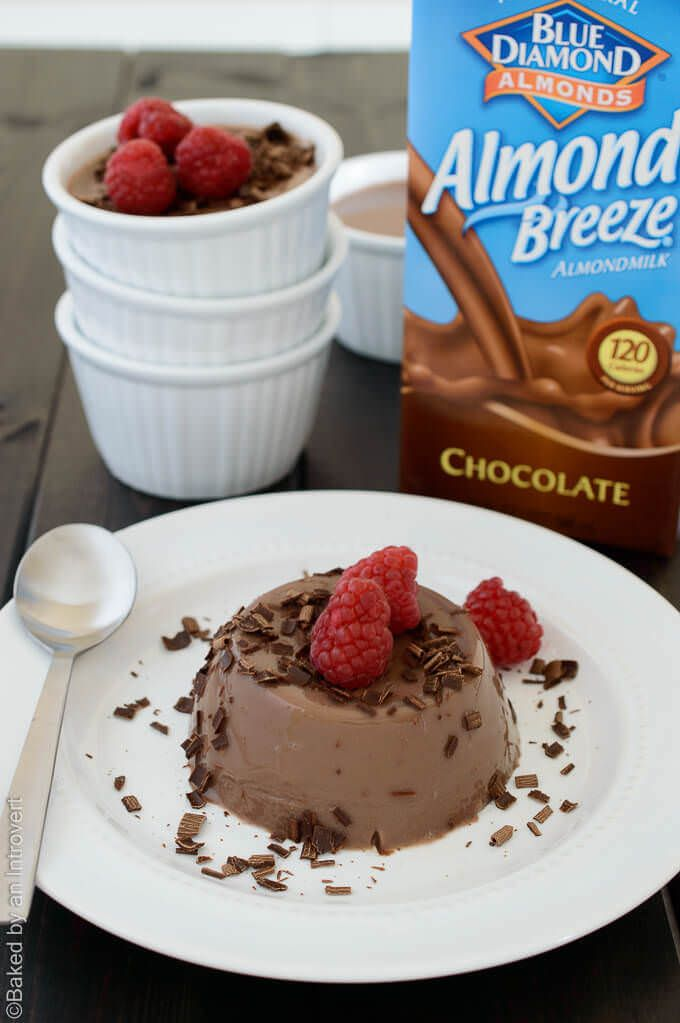 This chocolate almond milk panna cotta couldn't be simpler to make. With only 5 ingredients, you can enjoy this elegant dessert in no time. You will want to make this silky, soft set pudding all summer long. #ad #EasyAsBreeze @almondbreeze