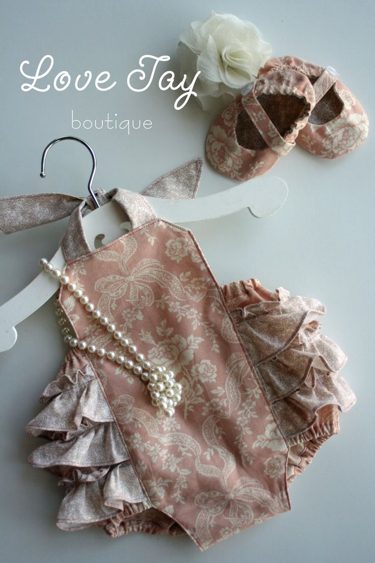 """Baby Girl Sunsuit Ruffle Romper """"Peaches n Cream"""" Vintage style...Love Tay Boutique.  via Etsy."""
