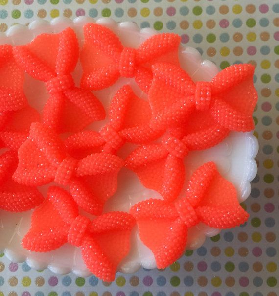 Orange bow cabochons - resin bow cabochons - small orange bows - orange hair bows - faux rhinestone bows - bling phone case bows - 3 pieces
