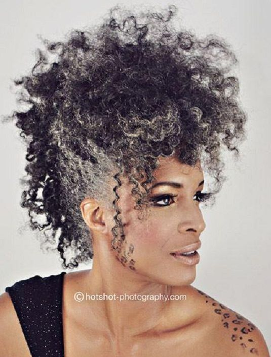 Wow! She's a bad mother-shut-your-mouth! I am LOVING this gray #twistout #fro faux-hawk and long lashes! #curly