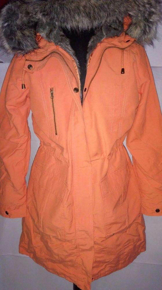AJC Damen Parka Jacke Mantel mit Kapuze und Fell, Orange 38 M in Kleidung & Accessoires, Damenmode, Jacken & Mäntel | eBay!