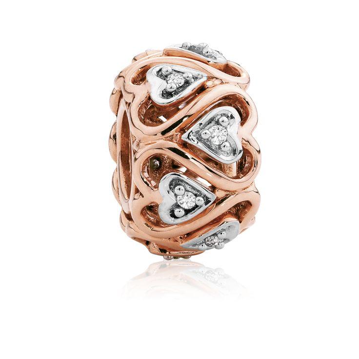 Diamond set, rose gold  sterling silver charm (11947769) #rosegold #emmaandroe