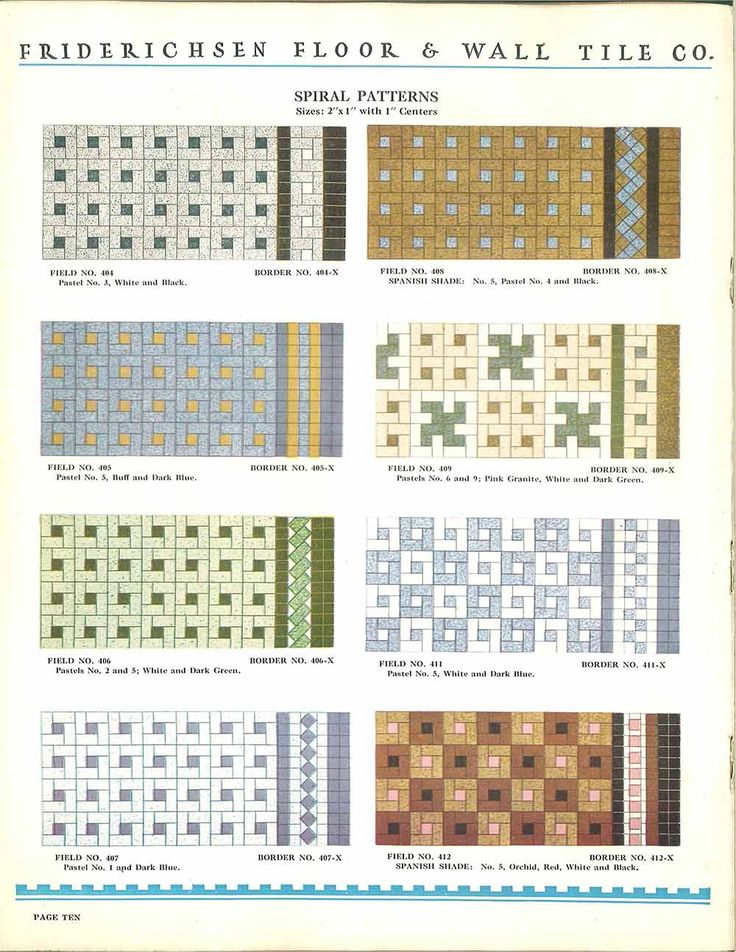 112 patterns of mosaic floor tile -- in amazing colors -- Friederichsen Floor & Wall Tile catalog, 1929 - Retro Renovation