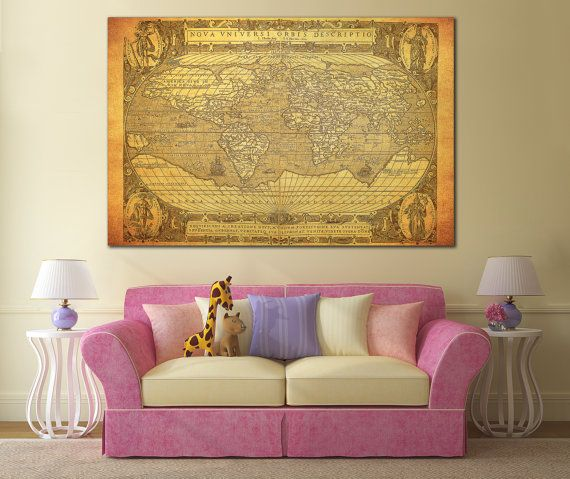 Wall Art World Map Large Canvas Panel Living Room Print