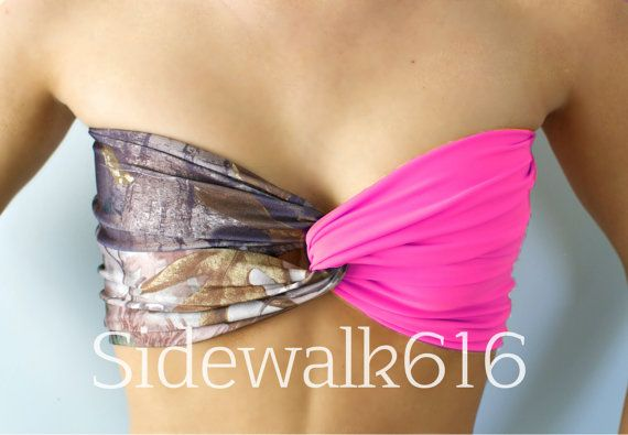 Real Tree Camo and Hot Pink Bandeau Top Spandex by Sidewalk616, $27.00 so cute!!