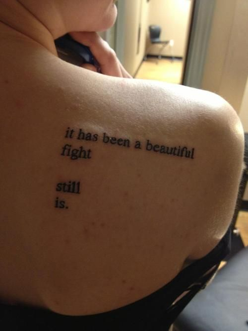 "This is my first tattoo.  It's from a poem called ""Cornered"" by Charles Bukowski.  I am in love"