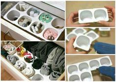 Magnífica idea para organizar cajones y usando el reciclaje!!!
