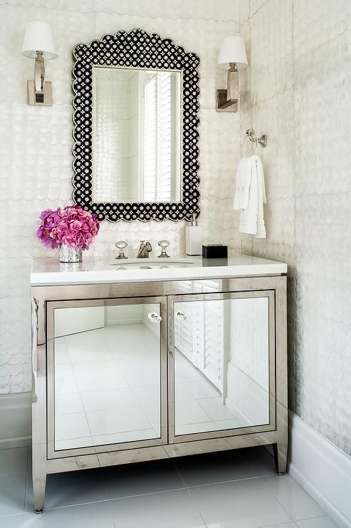 Metal Bath Vanity With Mirrored Cabinet Doors Bathroom