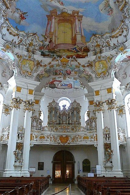 Pilgrimage Church of Wies in Germany, with Rococo architecture designed in the late 1740s.