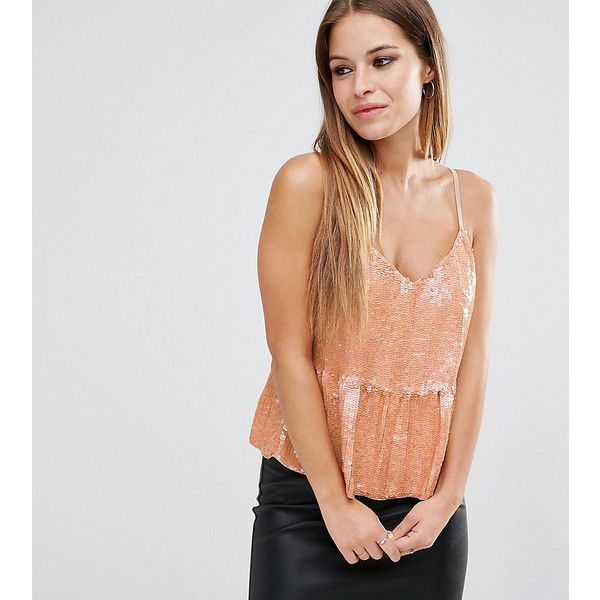 ASOS PETITE Sequin Cami with Frill Hem (33 BAM) ❤ liked on Polyvore featuring tops, petite, pink, asos, v neck cami, sequin cami, sequin cami top and v neck camisole