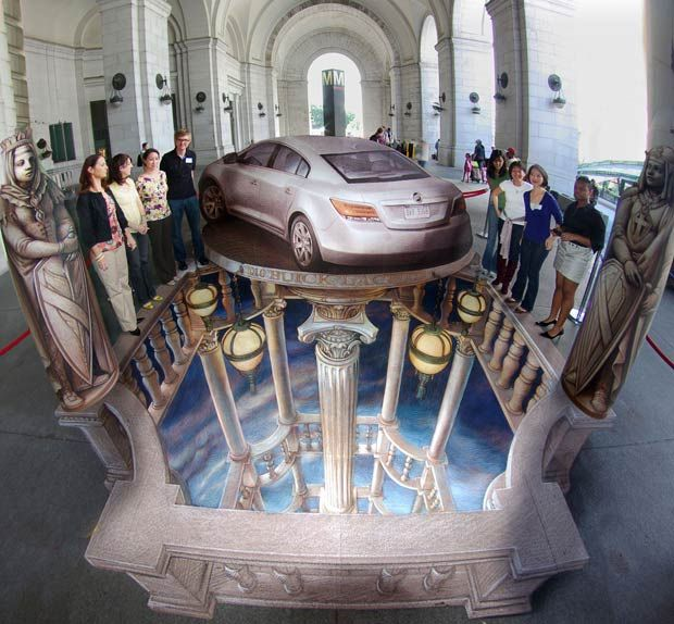 3D optical illusion street art by former NASA scientist Kurt Wenner repinned by www.BlickeDeeler.de