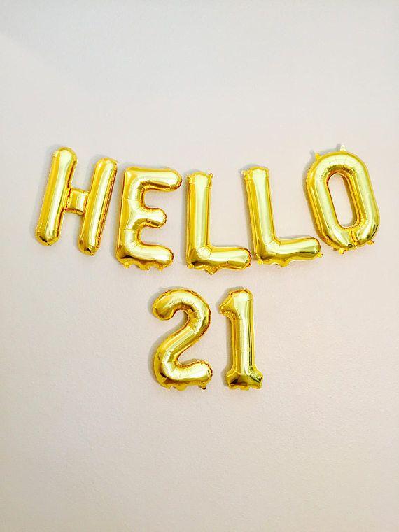 HELLO 21 Balloons 21st Birthday 21st 21 Number Balloons