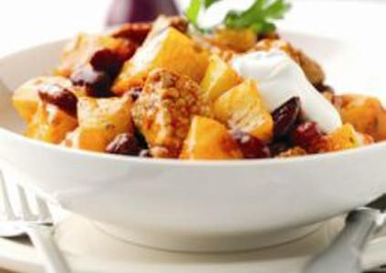 One Pot Potato & Pork Chilli  Ingredients:  800g medium smooth potatoes (such as Desiree), diced 1 tbsp oil 500g diced pork leg 1 yellow pepper, diced 410g can kidney beans, drained and rinsed 500g jar sauce for chilli con carne  Recipe from http://www.lovepotatoes.co.uk/recipes/easy-healthy-options-family-friendly/one-pot-potato-pork-chilli