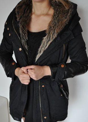 Kaufe meinen Artikel bei #Kleiderkreisel http://www.kleiderkreisel.de/damenmode/halblange-mantel/116752218-schwarzer-parka-mit-leder-winterherbst