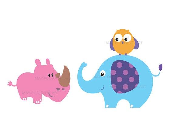 Safari Jungle Animals Clipart - Cute Baby Zoo Animals ...