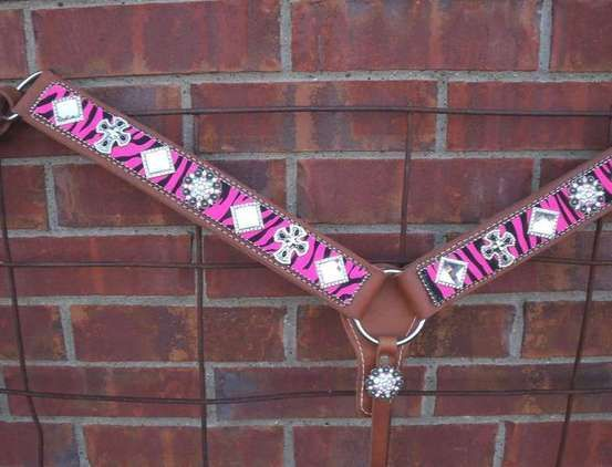 Pink Bling Horse Tack   Pink Zebra $130 Rhinestone Breast Collar for sale in Scurry, Texas ...