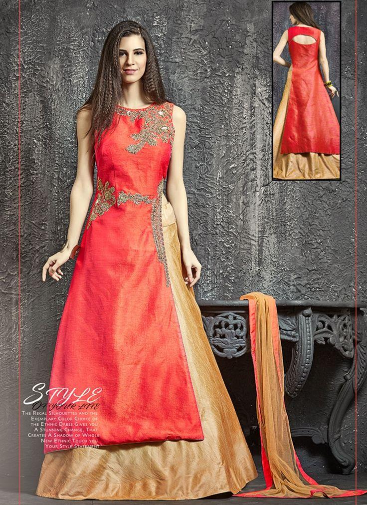 Buy Thrilling Beige and Red Zari Work Lehenga Choli #indianoutfit #indianfashion #lehenga #designerlehenga #designerwear #partywear #festivewear