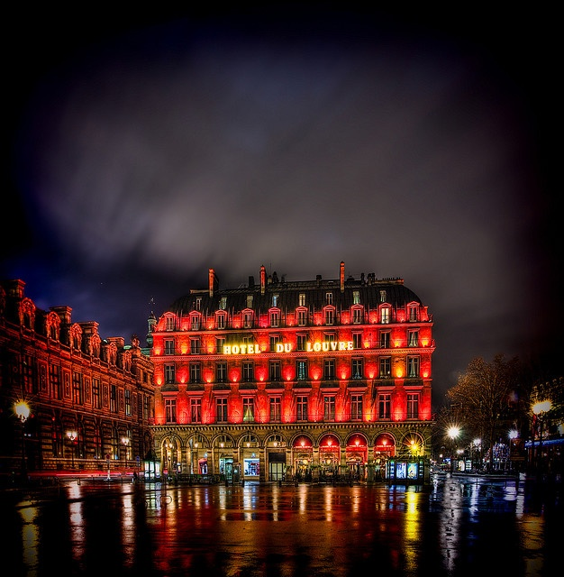 Hotel du Louvre Paris~ Stayed here when my brother and I went to Paris in 2010. The Louvre is the building to the left.