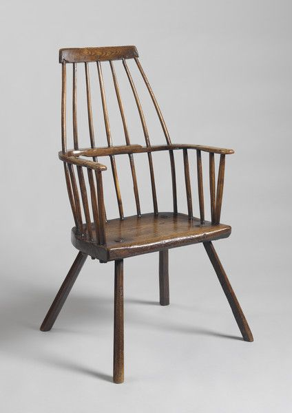 """Prmitive Stylised 'Lobster Pot' Windsor Armchair -  Of Elegant Graphic Form - Solid Ash and Elm with Original 'Nutty' Surface - English, c.1780. 40.50"""" high x 21.00"""" wide x 13.75"""" deep  - Robert Young Antiques"""