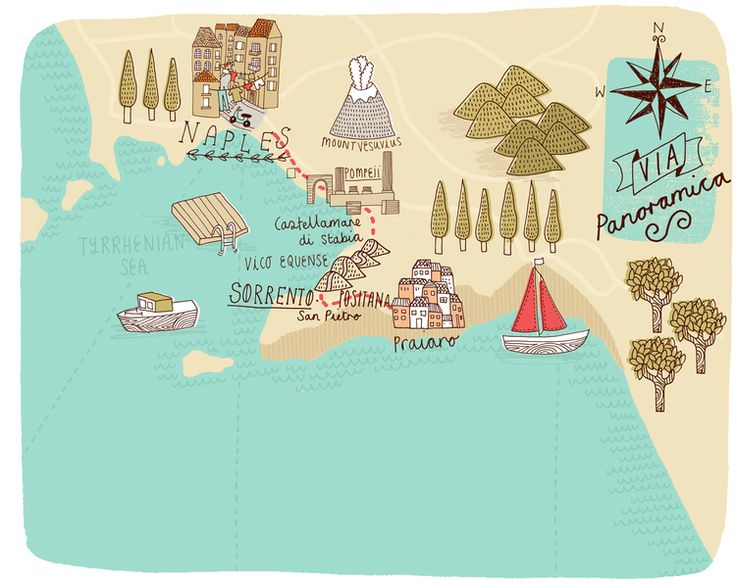 Kate Sutton - Map of Naples and Amalfi Coast for bthere magazine
