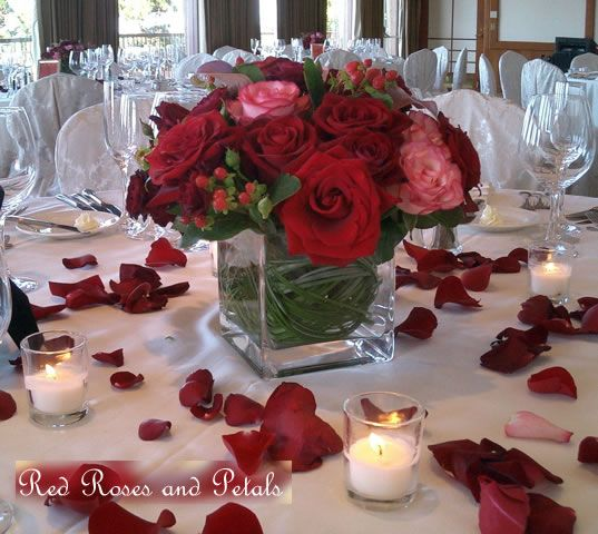Wedding red rose centerpiece and Tablescape with votives and rose petals & The 8 best Valentine Setting images on Pinterest   Floral ...