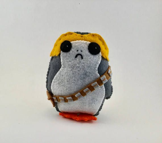 Porg With Wookiee belt! Star Wars inspired Felt toy #porg # Star Wars #lastjedi