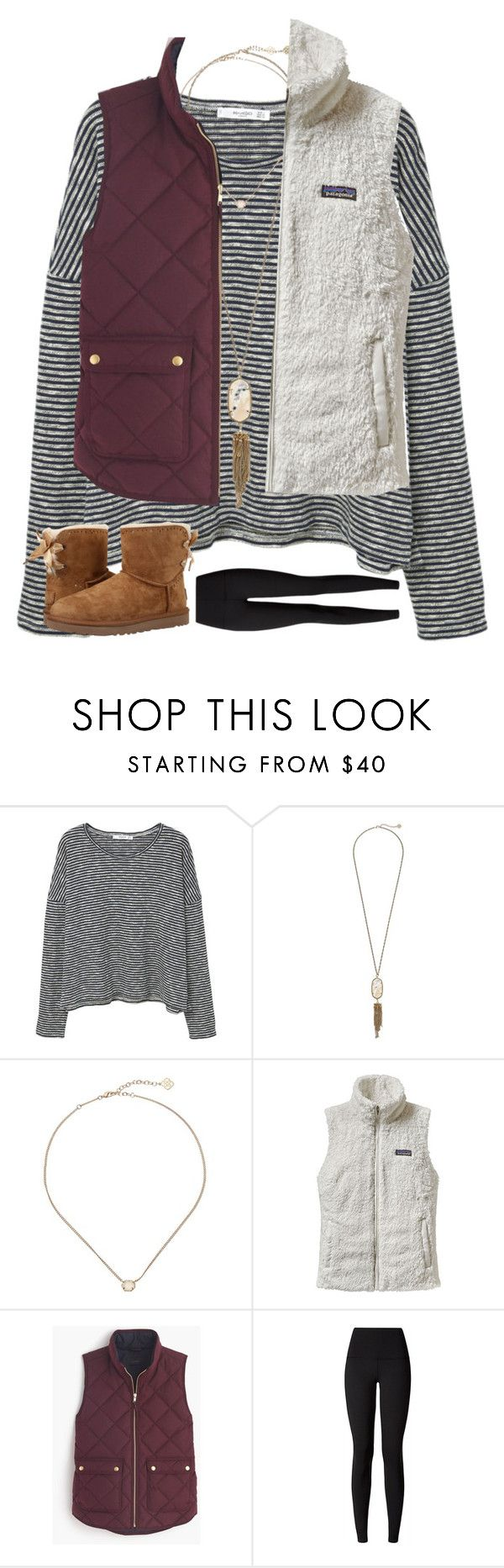 """""""Which vest??"""" by southernsophia ❤ liked on Polyvore featuring MANGO, Kendra Scott, Patagonia, J.Crew, lululemon and UGG"""